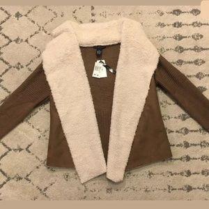 Grace elements faux fur collar cardigan $88!